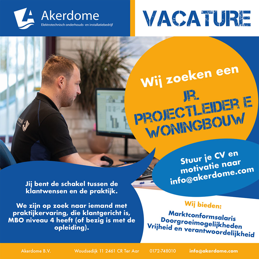 Vacature Jr Projectleider Woningbouw Akerdome